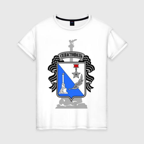 Женская футболка хлопок Герб Севастополя