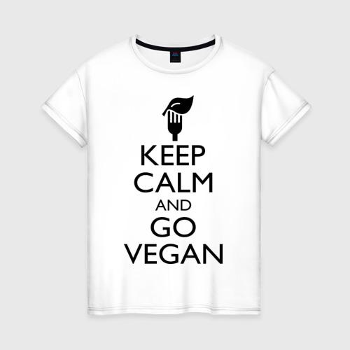 Женская футболка хлопок Keep calm and go vegan