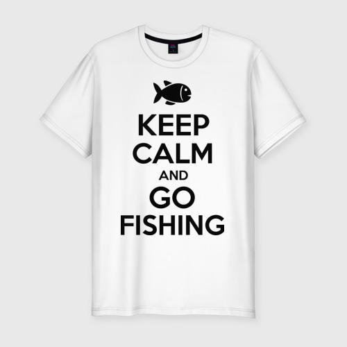Мужская футболка хлопок Slim Keep calm and go fishing