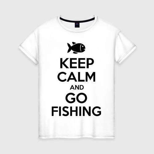 Женская футболка хлопок Keep calm and go fishing