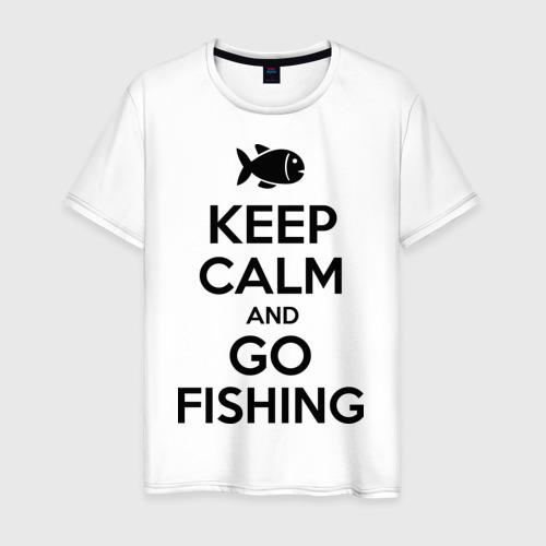 Мужская футболка хлопок Keep calm and go fishing