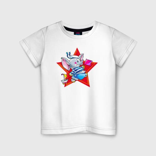 Детская футболка хлопок Слон моряк
