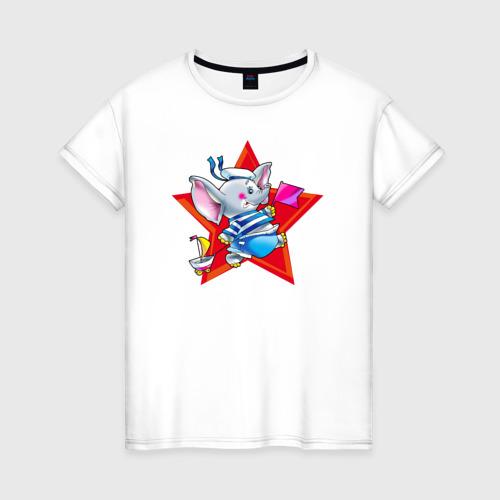 Женская футболка хлопок Слон моряк