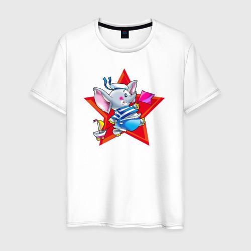 Мужская футболка хлопок Слон моряк