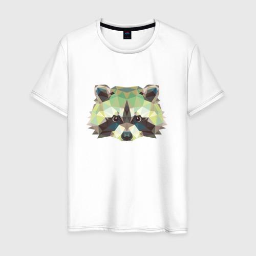 Мужская футболка хлопок Енот, Мордочка енота