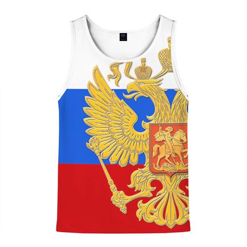 Мужская майка 3D Флаг и герб РФ
