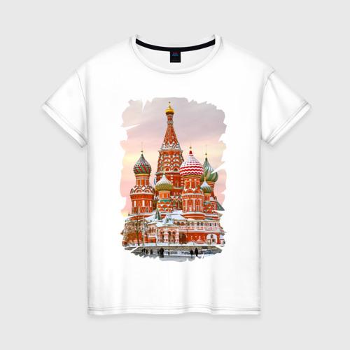 Женская футболка хлопок Собор Вас. Блаженного (осень)
