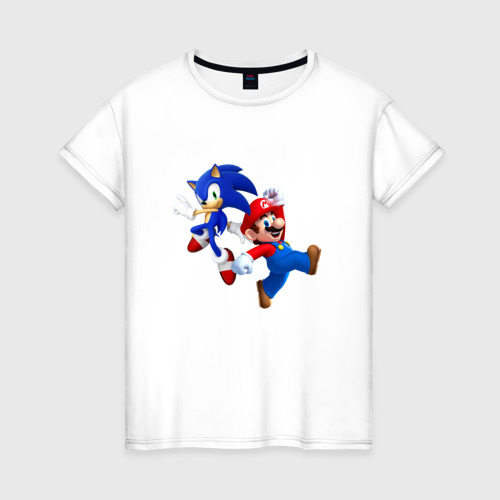 Женская футболка хлопок Sonic and Mario