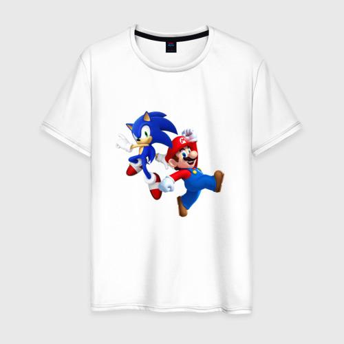 Мужская футболка хлопок Sonic and Mario