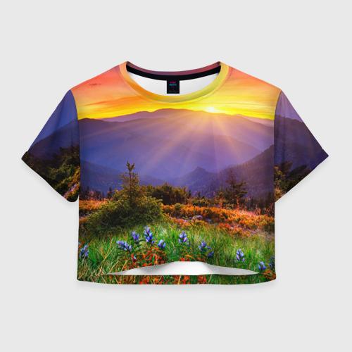Женская футболка Crop-top 3D Природа