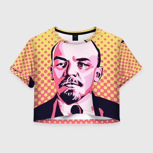 Женская футболка Crop-top 3D Поп-арт. Ленин