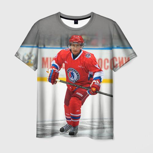 Мужская футболка 3D Путин хоккеист