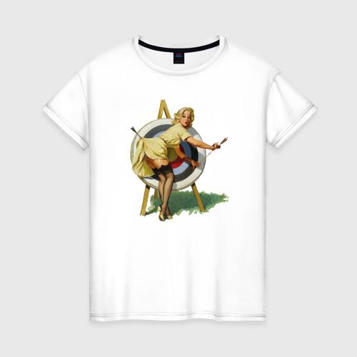 Женская футболка хлопок Девушка ретро