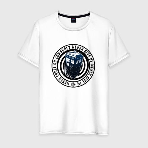 Мужская футболка хлопок Tardis - Never Give Up