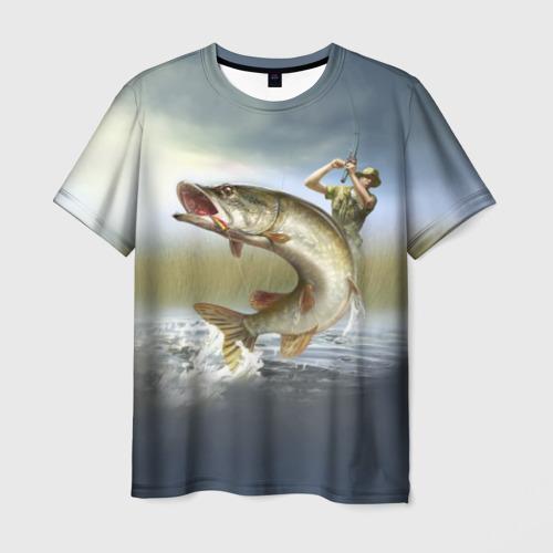Мужская футболка 3D Щука