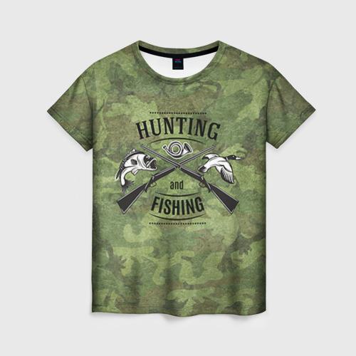 Женская футболка 3D Охота и рыбалка