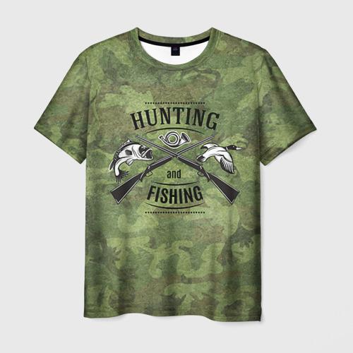 Мужская футболка 3D Охота и рыбалка