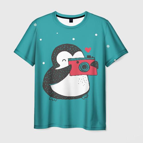Мужская футболка 3D Пингвин с фотоаппаратом