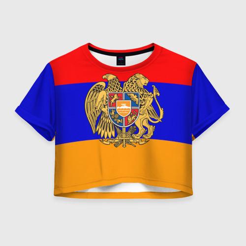 Женская футболка Crop-top 3D Герб и флаг Армении