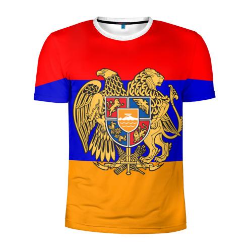 Мужская футболка 3D спортивная Герб и флаг Армении