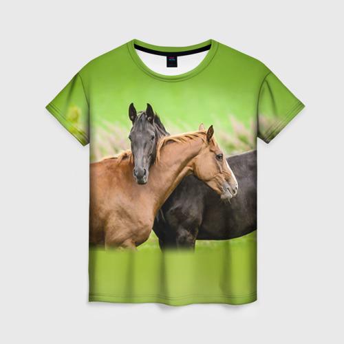 Женская футболка 3D Лошади 2