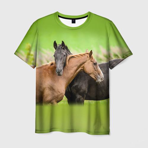 Мужская футболка 3D Лошади 2