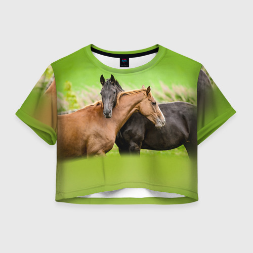 Женская футболка Crop-top 3D Лошади 2