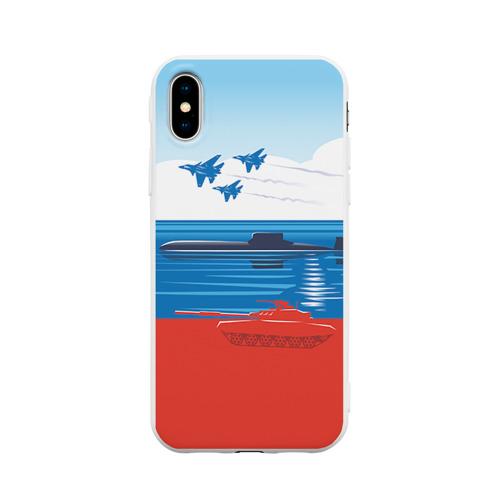 Чехол для iPhone X матовый Триколор России