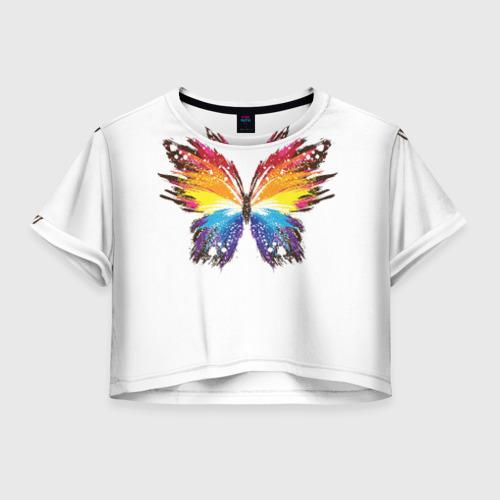 Женская футболка Crop-top 3D Butterfly