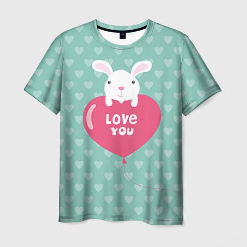 Мужская футболка 3D Влюбленный зайка