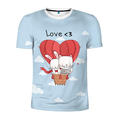 Мужская футболка 3D спортивная Влюбленные на шаре