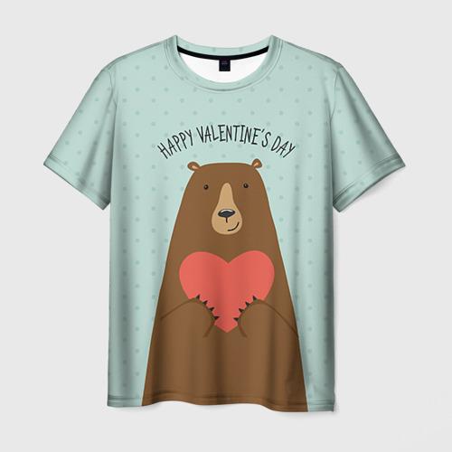 Мужская футболка 3D Медведь с сердцем
