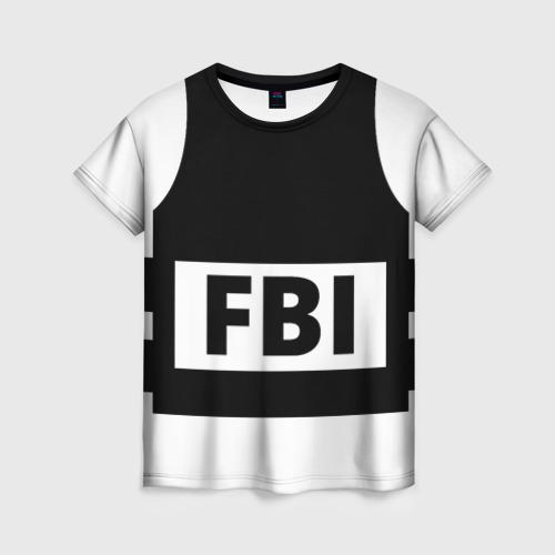 Женская футболка 3D Бронежилет ФБР (FBI)