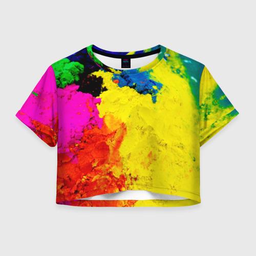 Женская футболка Crop-top 3D Индуистский фестиваль красок