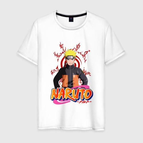 Мужская футболка хлопок Наруто на фоне печати