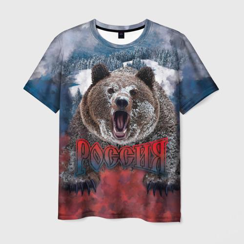 Мужская футболка 3D Русский медведь