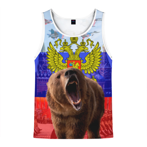 Мужская майка 3D Русский медведь и герб