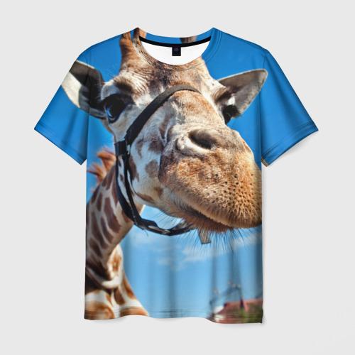 Мужская футболка 3D Прикольный жираф