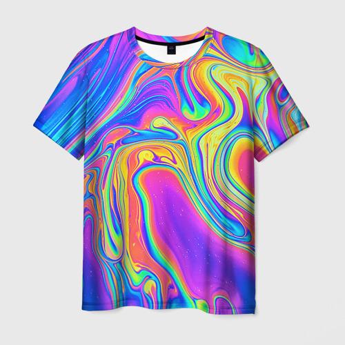 Мужская футболка 3D Цветные разводы