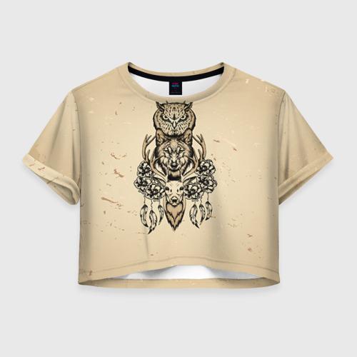 Женская футболка Crop-top 3D Животные
