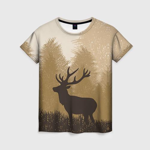 Женская футболка 3D Олень