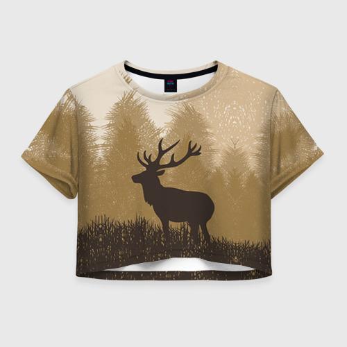 Женская футболка Crop-top 3D Олень