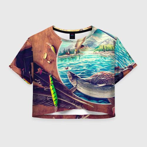 Женская футболка Crop-top 3D Рыбацкое
