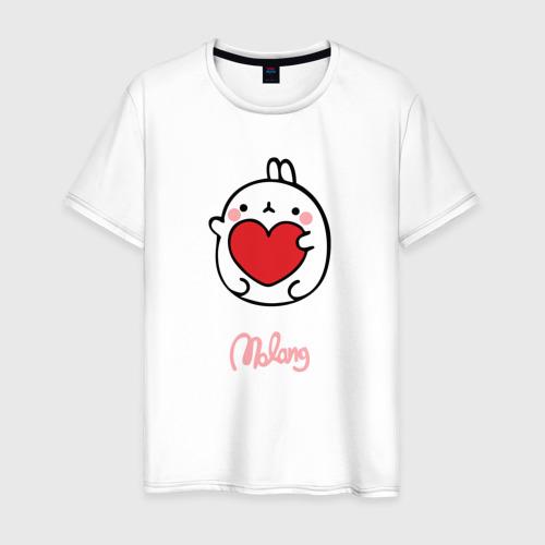 Мужская футболка хлопок Кролик Моланг (сердце)