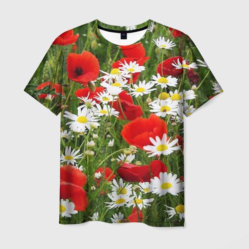 Мужская футболка 3D Полевые цветы 2