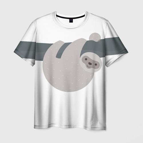 Мужская футболка 3D Веселый ленивец