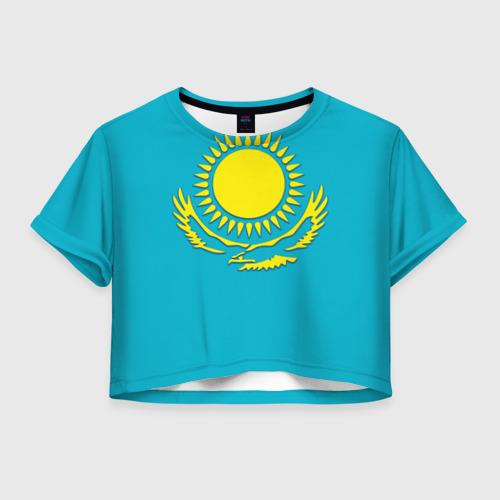 Женская футболка Crop-top 3D Казахстан