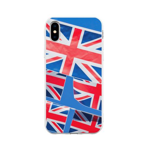 Чехол для iPhone X матовый Британские флаги