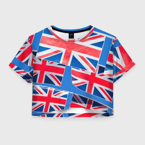 Женская футболка Crop-top 3D Британские флаги