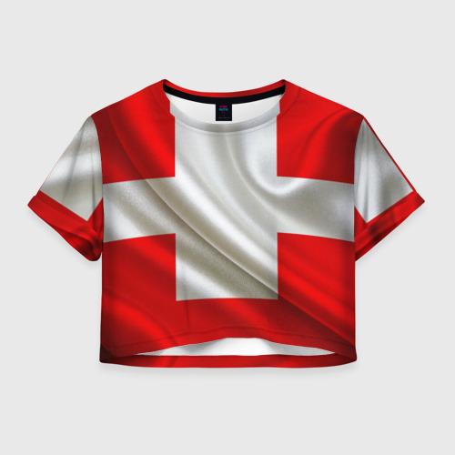 Женская футболка Crop-top 3D Швейцария
